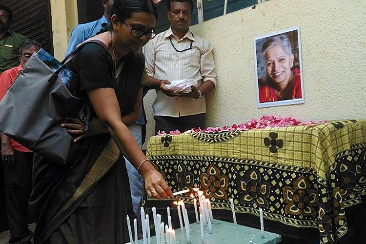 Let our voices be heard louder Kerala journalists protest Gauri Lankeshs murder