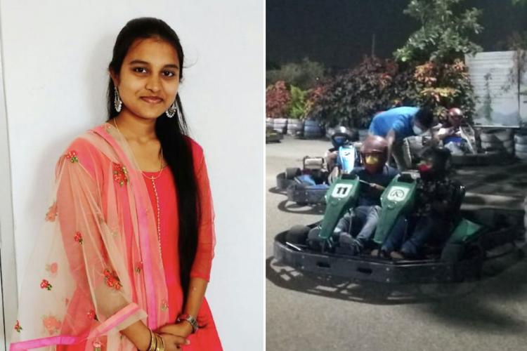 A collage of a file photo of Sri Varshini and a photo of her sitting with her uncle on the go kart