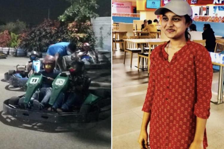 A collage of a photo of Sri Varshini and a photo of her sitting on a Kart along with her uncle