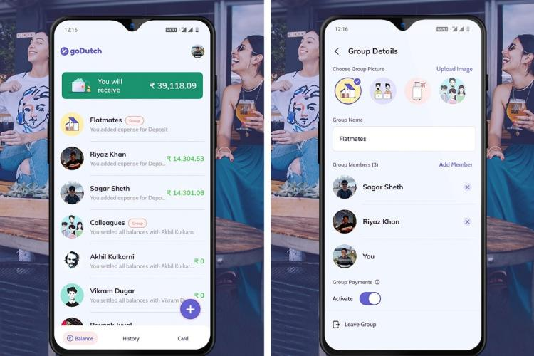 Group payments sharing app goDutch on mobile