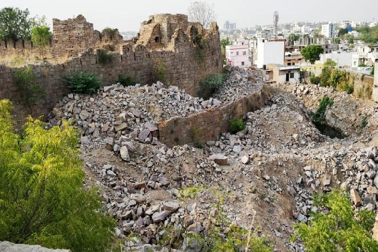 Digging along Hyderabads Golconda fort stopped again after ASI intervention