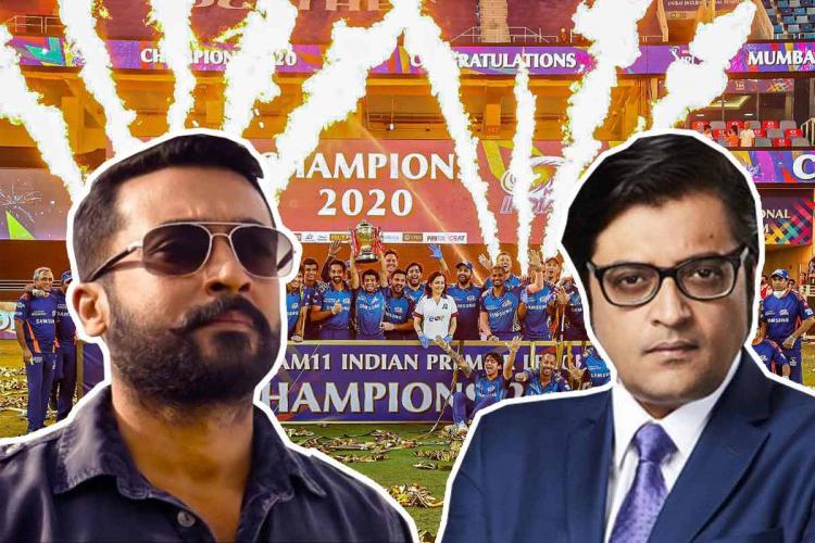 Arnab Goswami Surya in Soorarai Pottru and IPL final collage