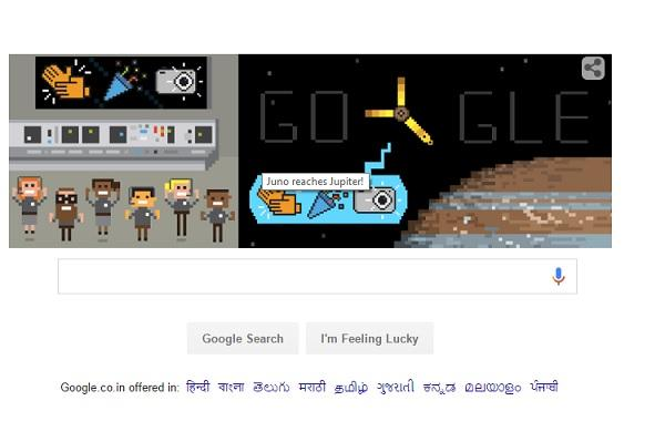 Google cheers Junos arrival in Jupiter with a doodle