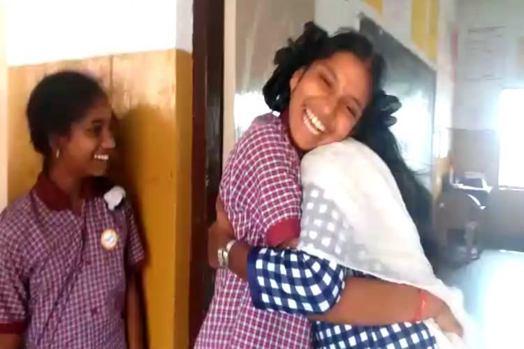 Hugs or high five Inspired by viral video Telangana teacher greets students with love