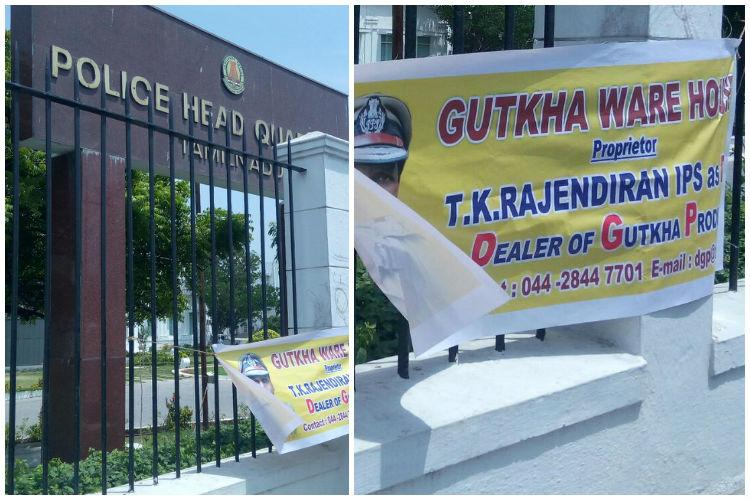TN DGP Gutkha dealer Man detained for putting cheeky banner outside top cops office