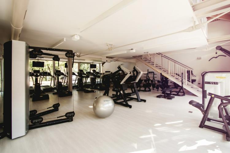 A gym with equipments