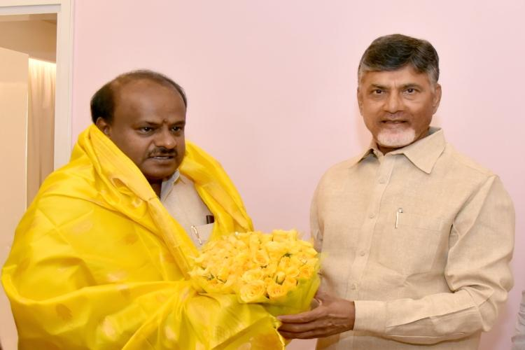 CM meets CM Kumaraswamy Chandrababu discuss alternative front ahead of 2019