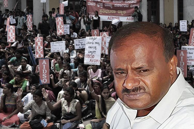 Ktaka CM Kumaraswamy denies free bus passes students to intensify protest