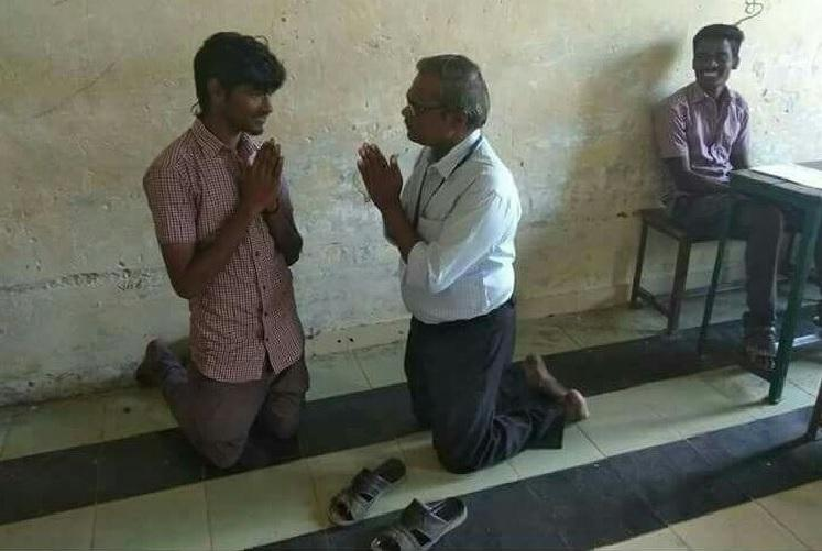 Viral photo of TN headmaster begging student Whats the story