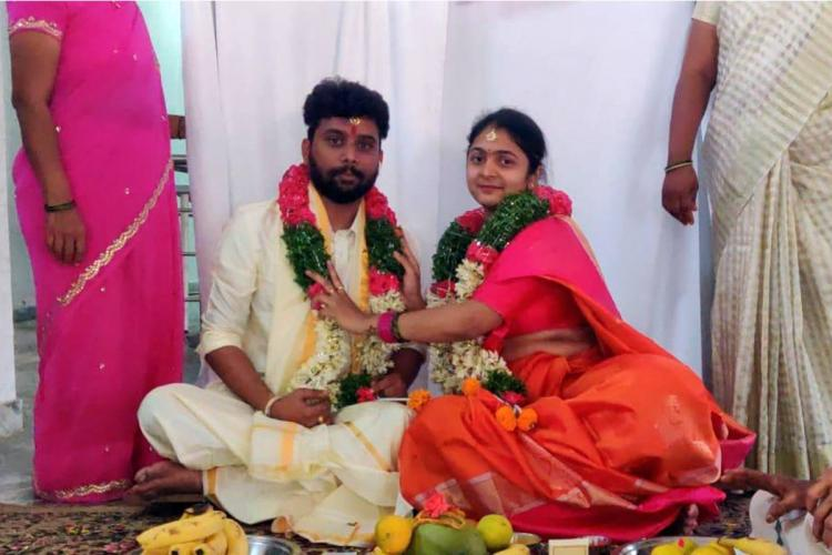 Wedding photo of Hemanth and Avanti Reddy along with Hemanths family