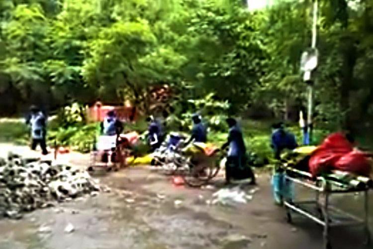 Watch Tirupati hospital uses wheelchairs stretchers to dump garbage