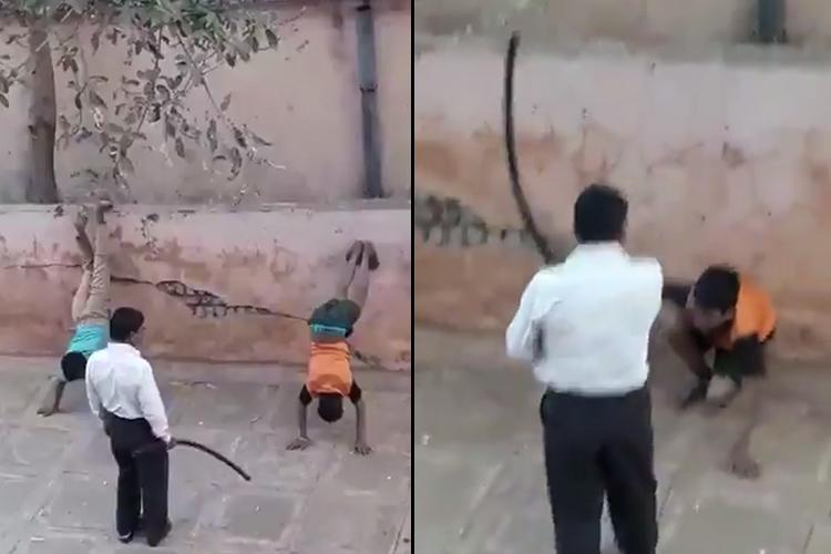 shocking visuals two teen boys made to stand upside down