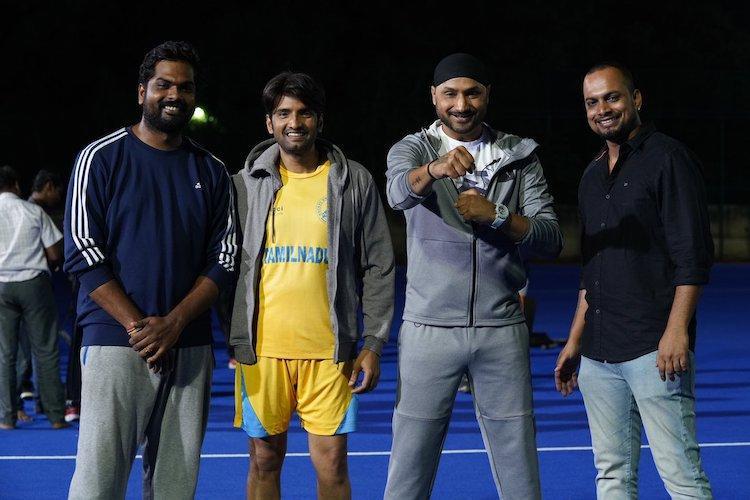 Indian cricketer and CSK star Harbhajan Singh joins Santhanams Dikkiloona sets