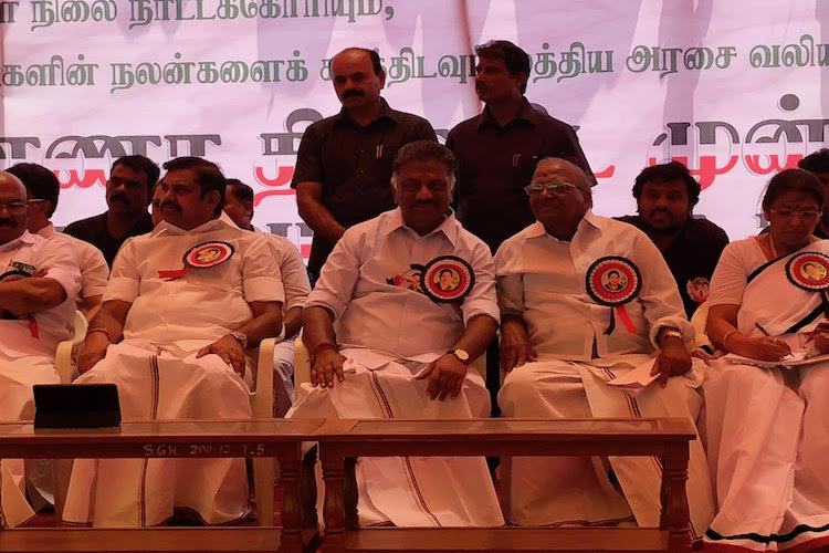 At AIADMK fast in Chennai solemn cadres vow to fulfil Jayas promise