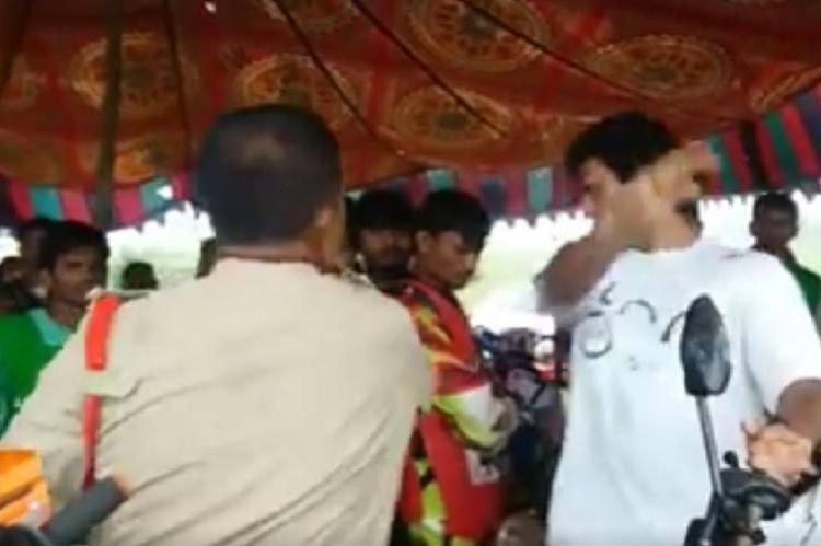 Video Cop slaps bike-rally organizer near Hyderabad for not having permission