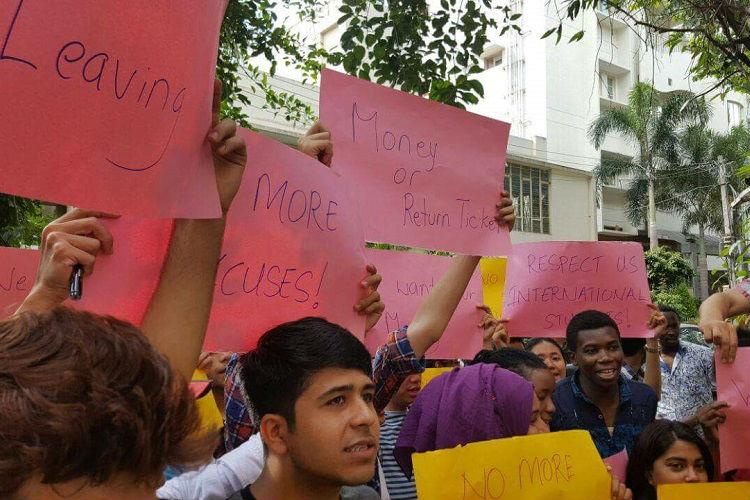 Give our allowance good hostels international students camp outside ICCR office in protest