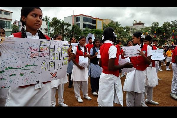 Protest for free space Bengaluru Indiranagar residents want playground over stadium