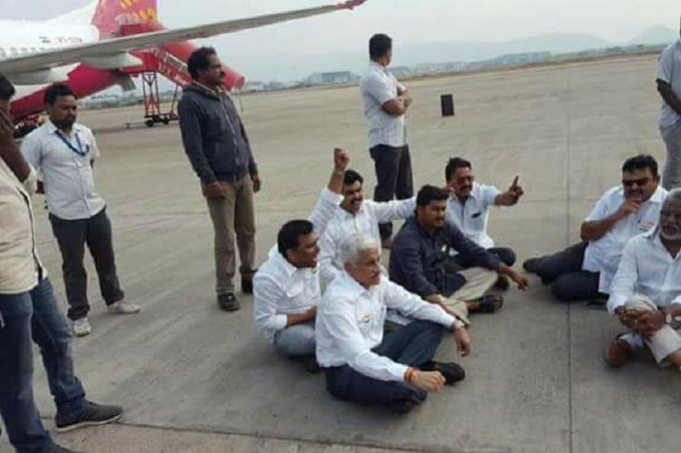Jagan Reddy sits on dramatic dharna at Vizag airport denied entry for RK Beach protest