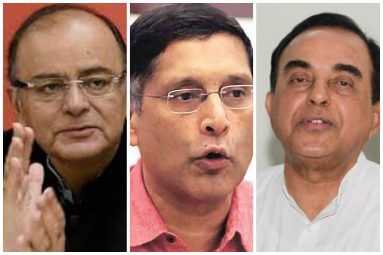 Arun Jaitley backs Arvind Subramanian with a veiled attack on Swamy