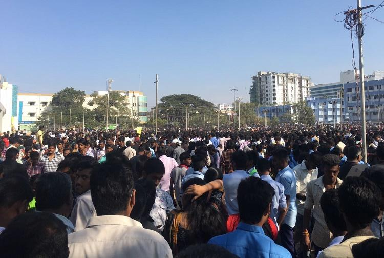 Not just Marina beach Massive jallikattu protests in Coimbatore