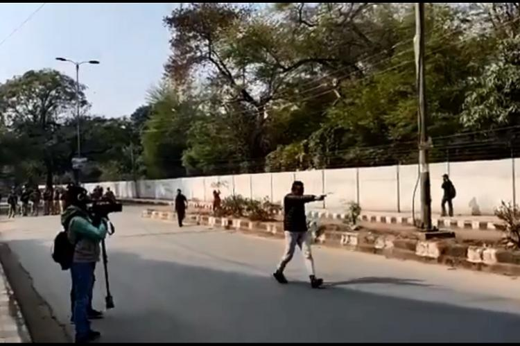Man shouting anti-Jamia slogans opens fire near University one student injured