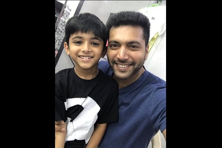 Double happiness for Jayam Ravi Son Aarav to play his reel son in his debut movie