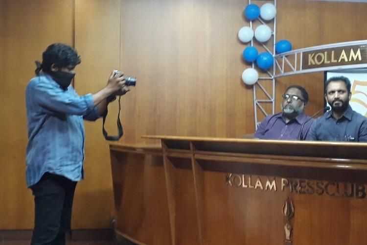 Kerala photojournalist wears black gag in protest at BJP press meet