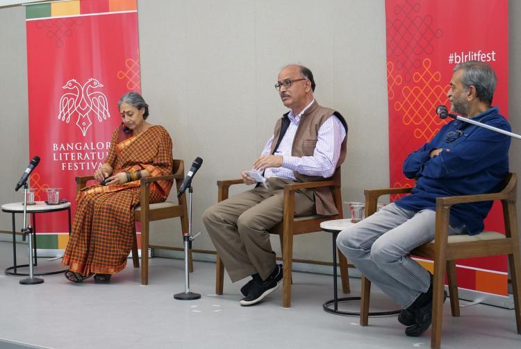 Photo of the panelists Padmavathi Rao Vidyashankar N and Raghavendra M K from Bangalore Lit Fest