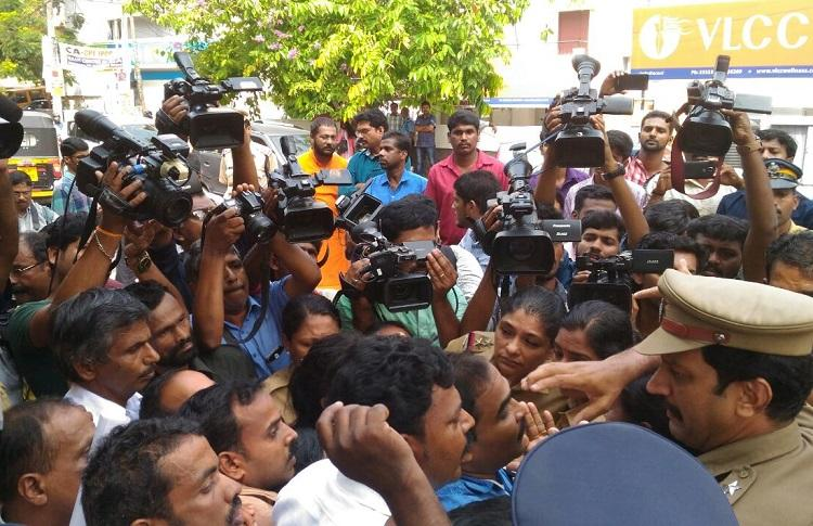 Dramatic scenes outside DGP office Jishnus family forcibly removed and arrested