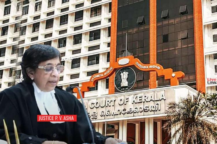 PV Asha in her judge's coat sitting, with an image of the high court of Kerala in the background