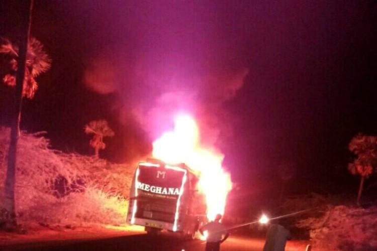 Vijayawada-bound bus bursts into flames mid-way 44 sleeping passengers have narrow escape