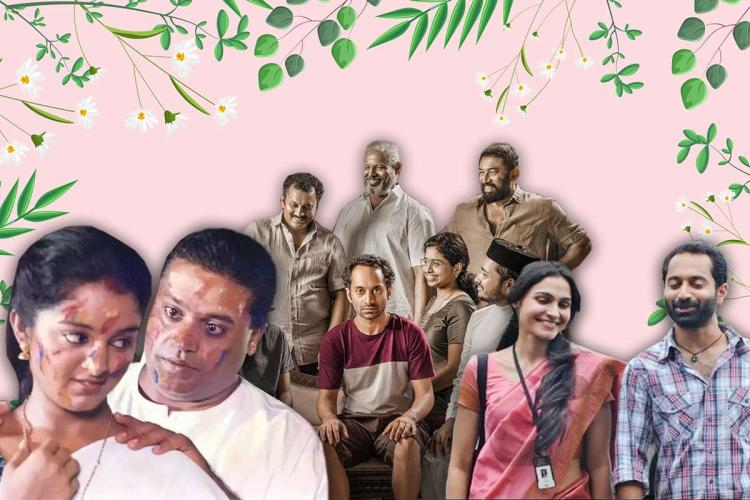A number of people are in the picture which is a collage of three film stills in a pink background -- Kaliyattam Annayum Rasoolum and Joji
