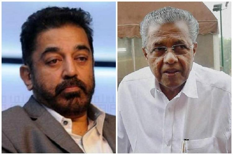 Kamal Haasan meets Pinarayi in Kochi invites him to attend his partys function