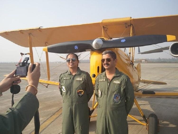 In a significant first for IAF female pilot flies a vintage plane