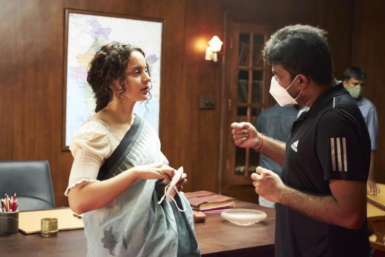 AL Vijay and Kangana in conversation on the sets of Thalaivi