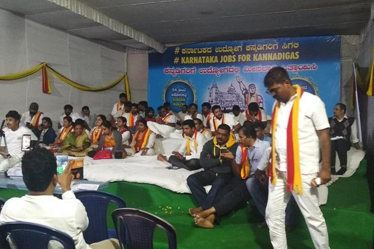 Pro-Kannada activists on day-long protest demanding jobs for locals in Karnataka