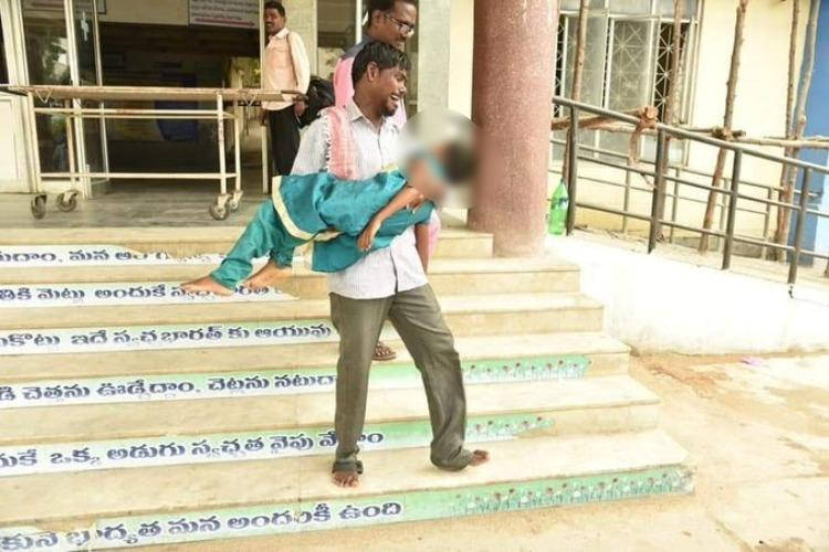 Man carries daughters dead body for 500 metres as hospital allegedly asks money for ambulance