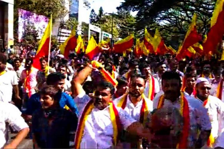 File image of protests by pro-Kannada organisations in Bengaluru