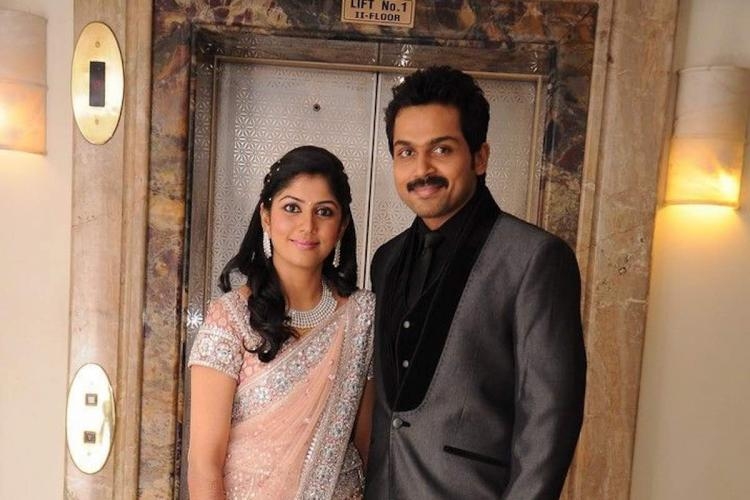 Karthi and Ranjani during their wedding reception