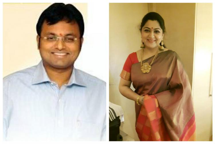 Karti PC says party doesnt rely on actors Khushbu hits back party not dependent on Karti or his dad