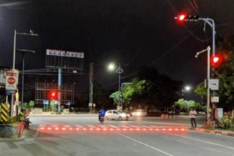 A zebra crossing at a busy Hyderabad signal now has LED lights heres why