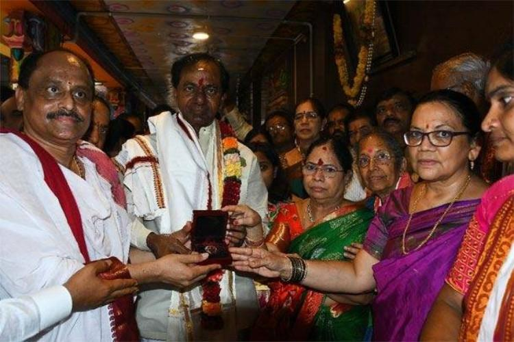 KCR offers prayers donates nose stud to Kanaka Durga temple in Vijayawada