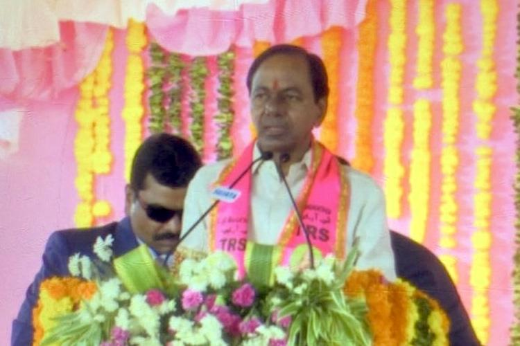 KCR non-committal on early elections but blows poll bugle anyway at party rally