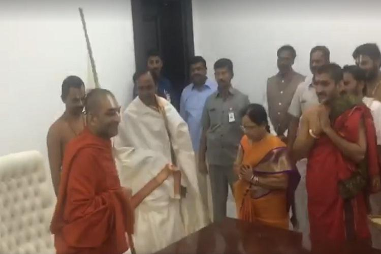 The godman who inaugurated KCRs new house Here is who he is