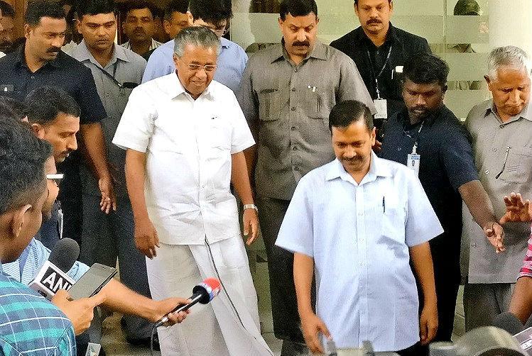 Pinarayi meets Kejriwal in Delhi criticises centre for targeting Delhi govt