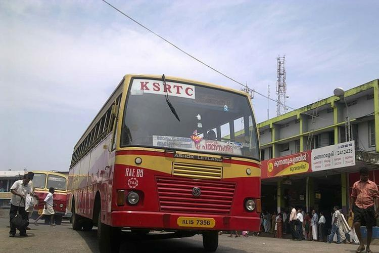 Kerala RTC bus in front of Ernakulam bus depot