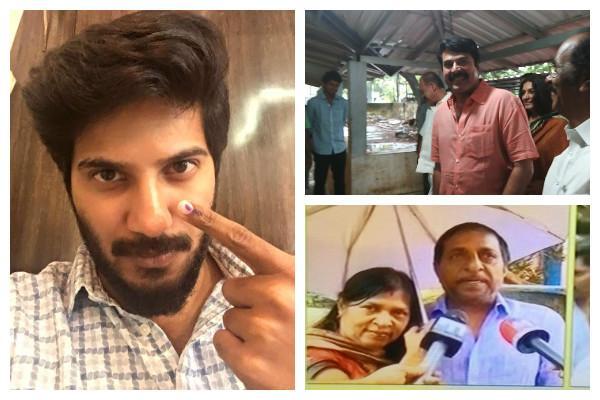 Mammootty Dulquer Salmaan among early bird voters in Kerala