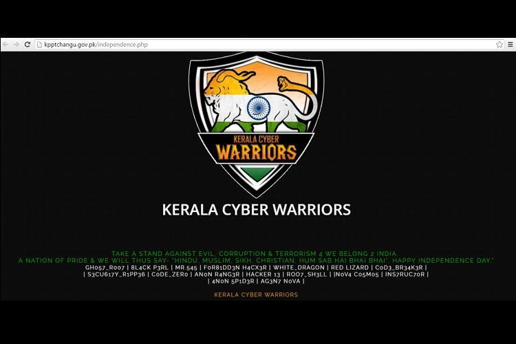 On Independence day Kerala Cyber Warriors hack 50 Pakistan websites