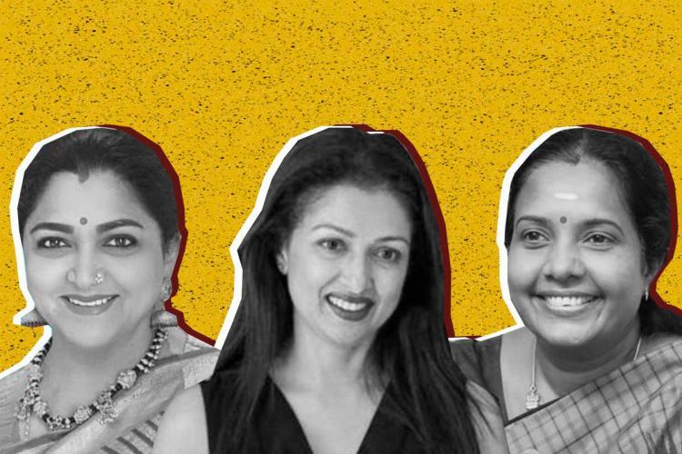 Collage of Khushboo Gautami and Vanathi Srinivasan