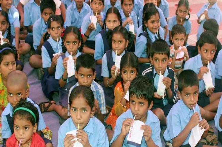 milk given to school children in Karnataka